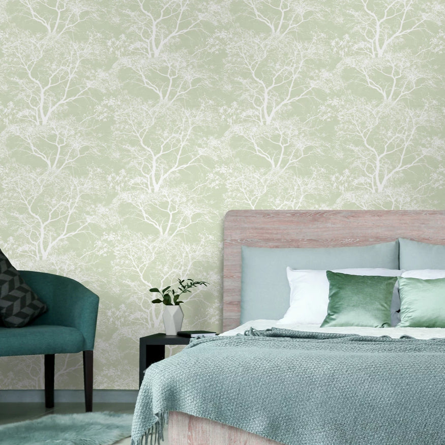 White and sage green trees wallpaper in bedroom