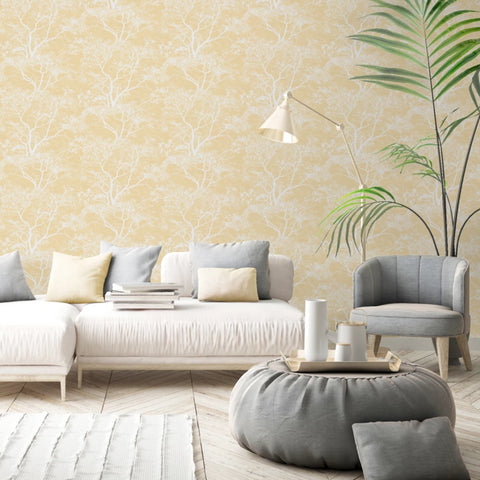 White and yellow trees wallpaper in living room