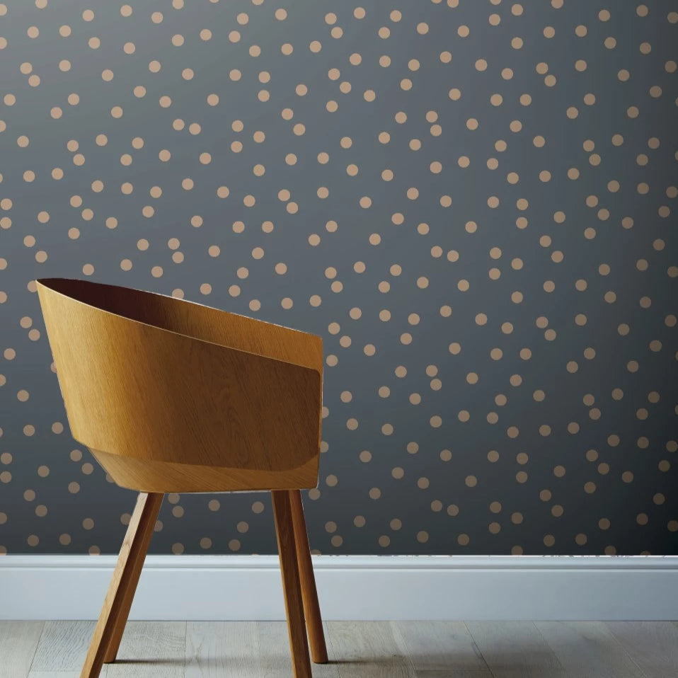 Dotty Charcoal / Rose Gold Spots Wallpaper