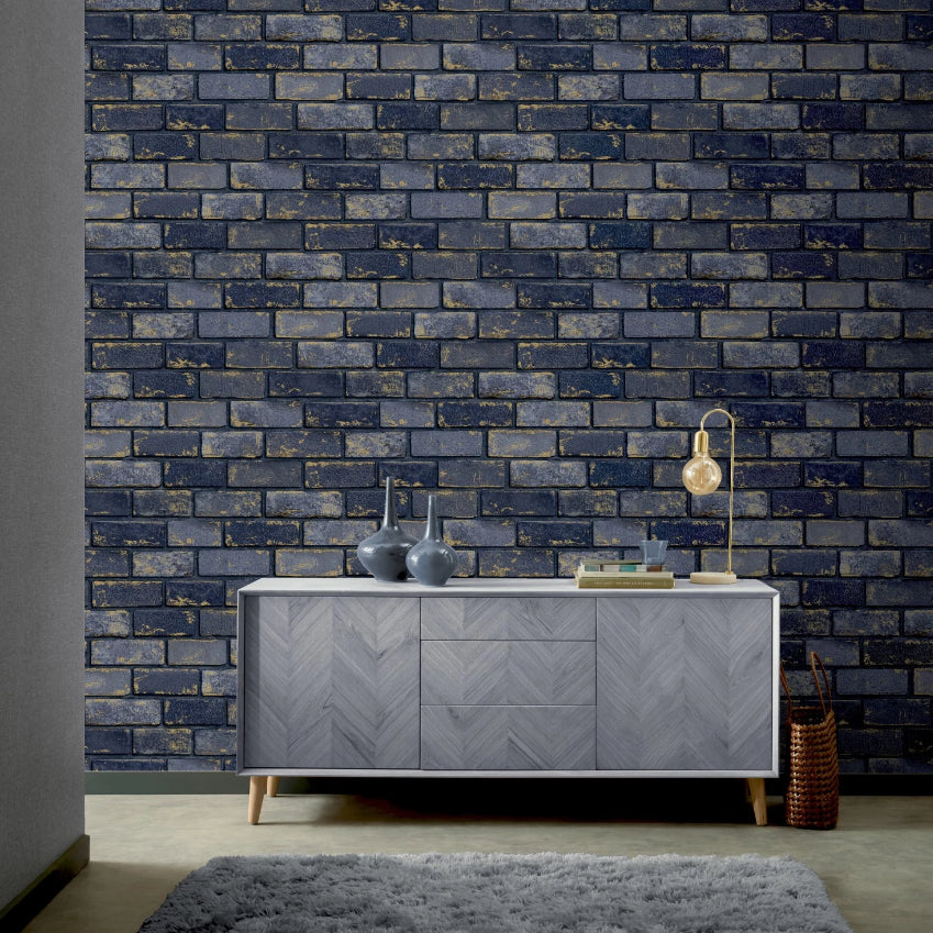 Gold and blue brick wallpaper in room