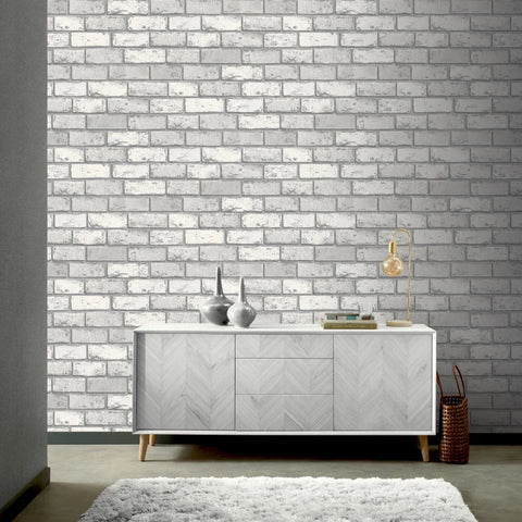 White and silver brick wallpaper in room
