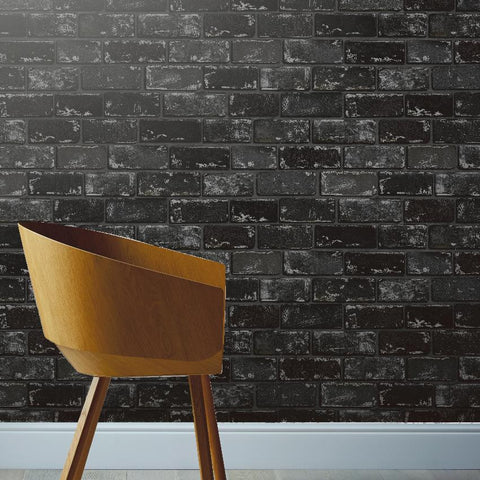 Metallic Brick Black / Silver Wallpaper