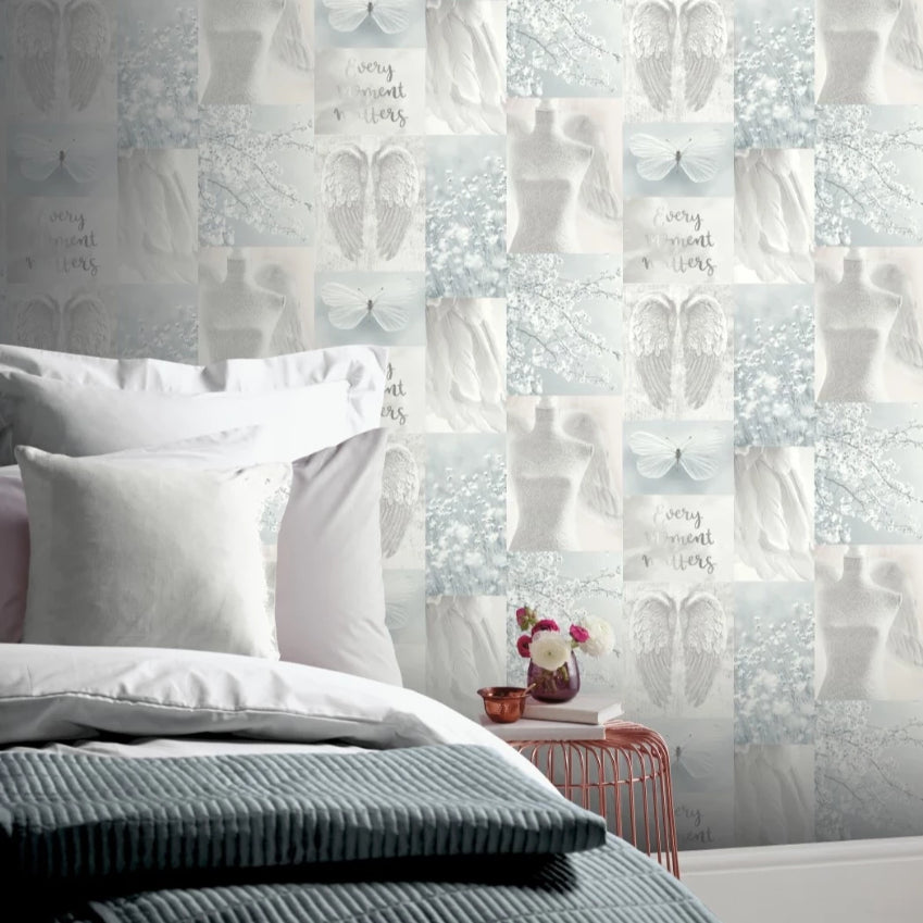 Light blue and grey collage wallpaper in lady's bedroom
