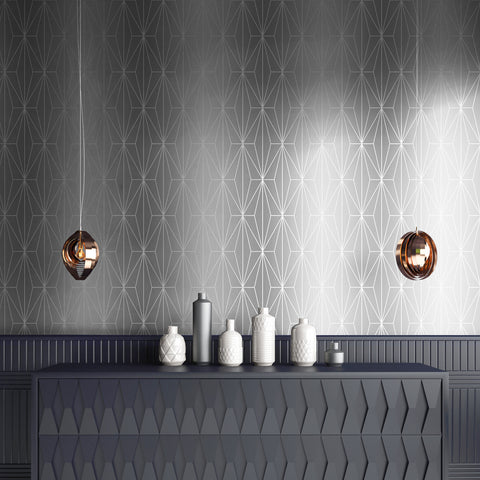 Metallic silver and grey geometric wallpaper in room