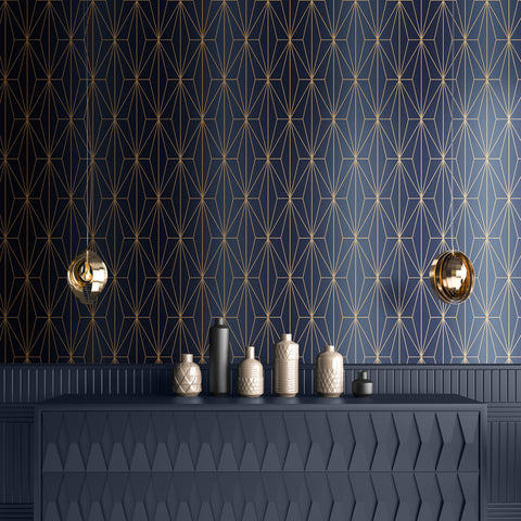 Blue and bronze geometric wallpaper in room