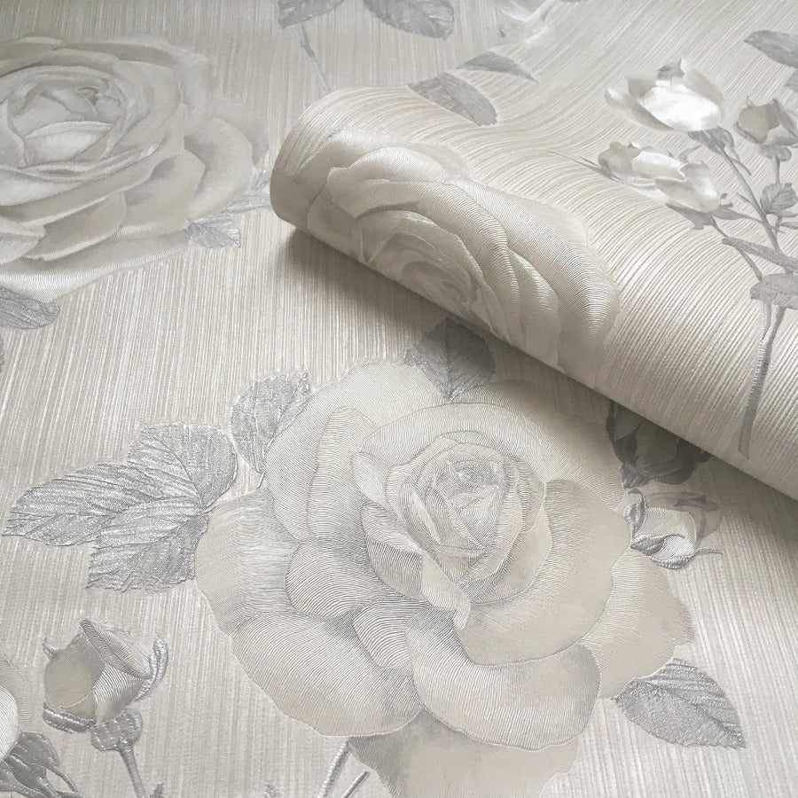 Amara Soft Silver Rose Wallpaper