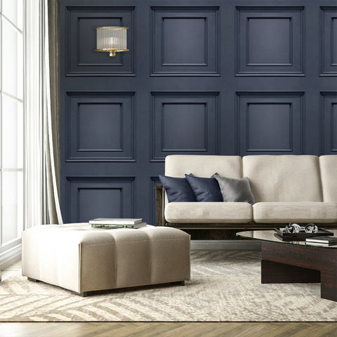 Dark blue 3d wood panel wallpaper