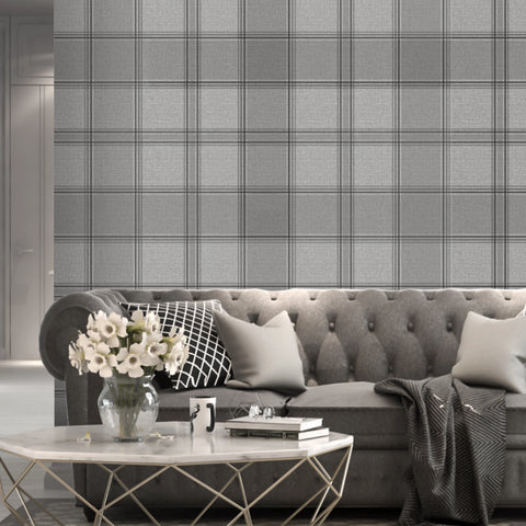 Silver grey check wallpaper in living room