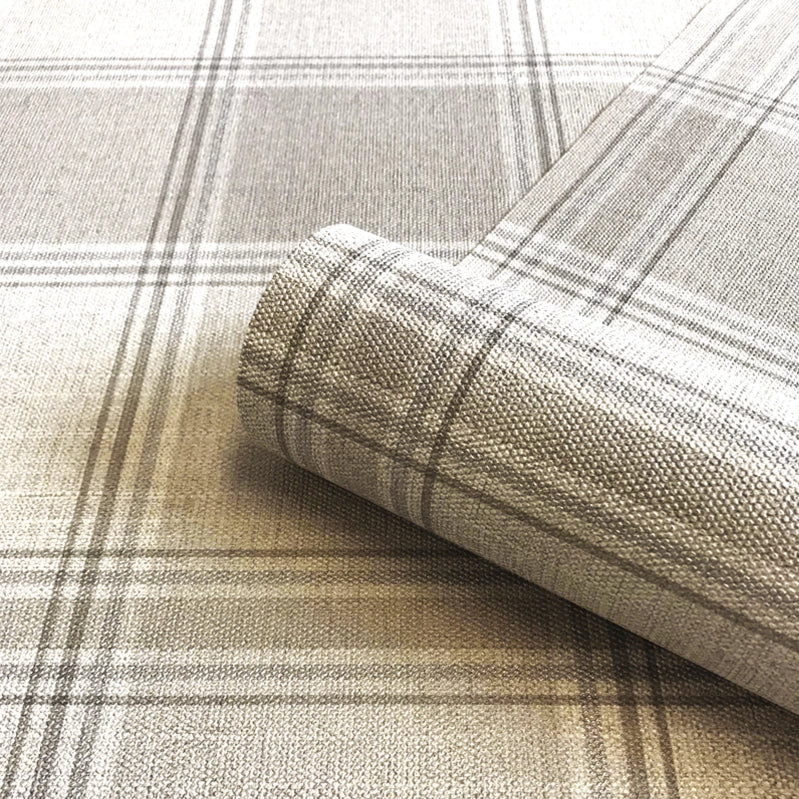 Fabric effect beige check pattern wallpaper
