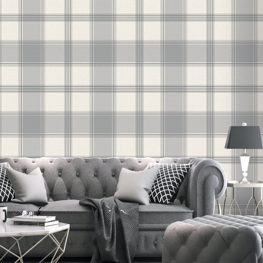 Silver and cream check pattern wallpaper in living room