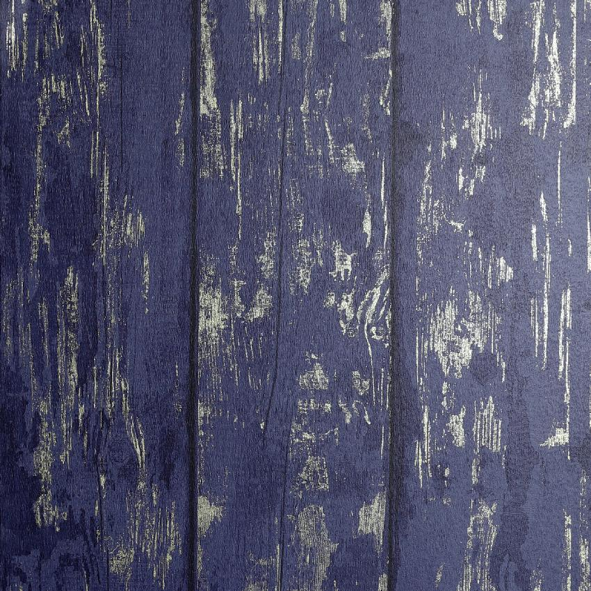 Metallic Washed Wood Navy / Gold Wallpaper
