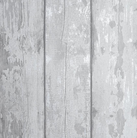 Metallic Washed Wood Grey / Silver Wallpaper