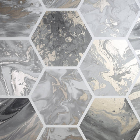 Silver and grey hexagon marble swirl wallpaper