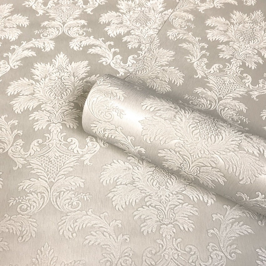Luxury beige shimmer damask wallpaper