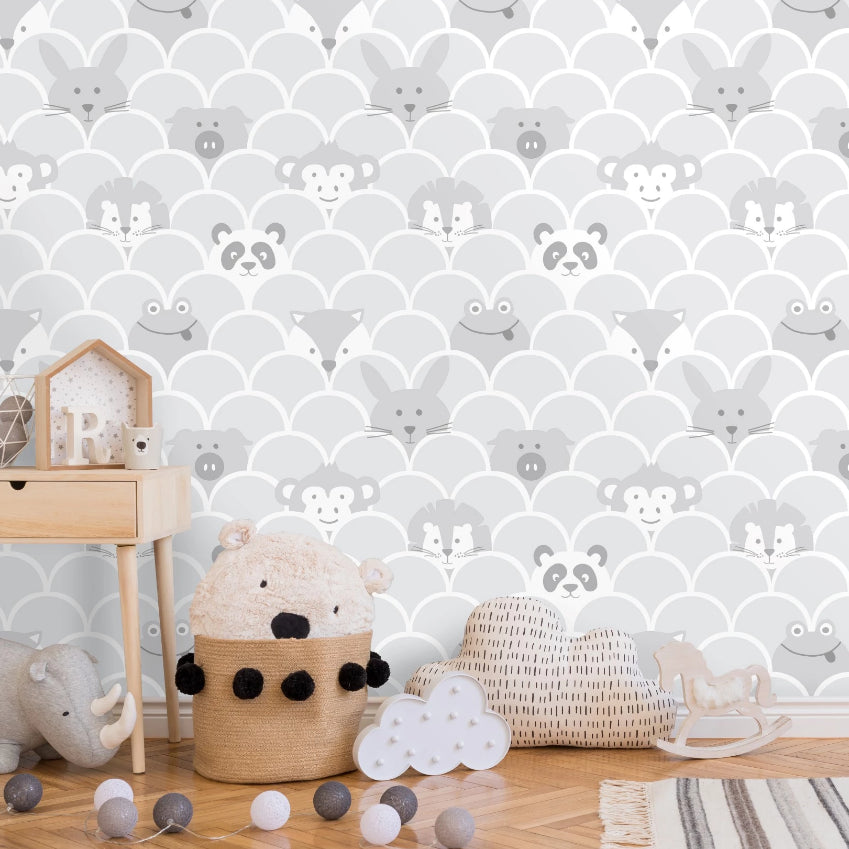 Grey peek a boo animals wallpaper in baby's bedroom