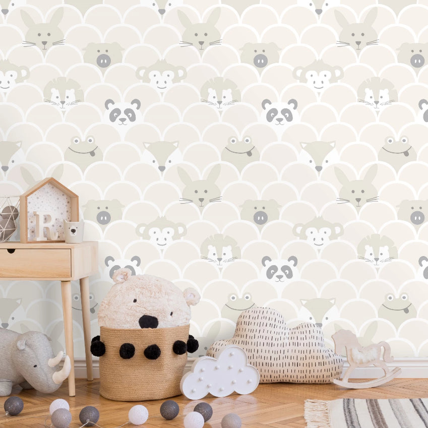 Cream and beige peek a boo animals wallpaper in baby's bedroom