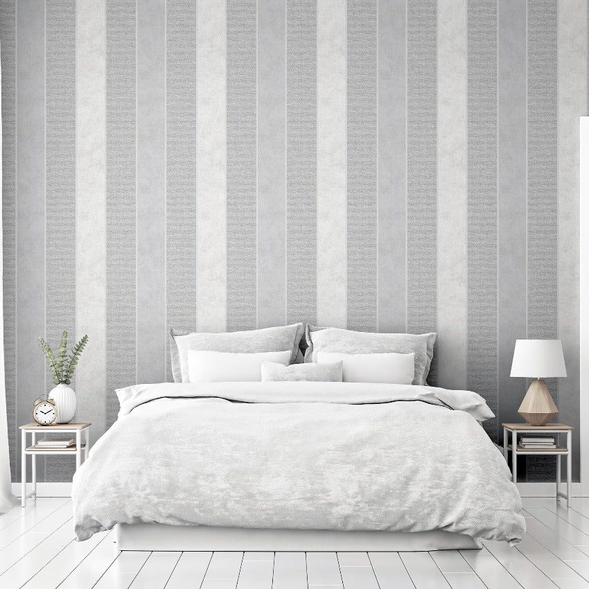 Modern silver industrial style striped wallpaper in bedroom