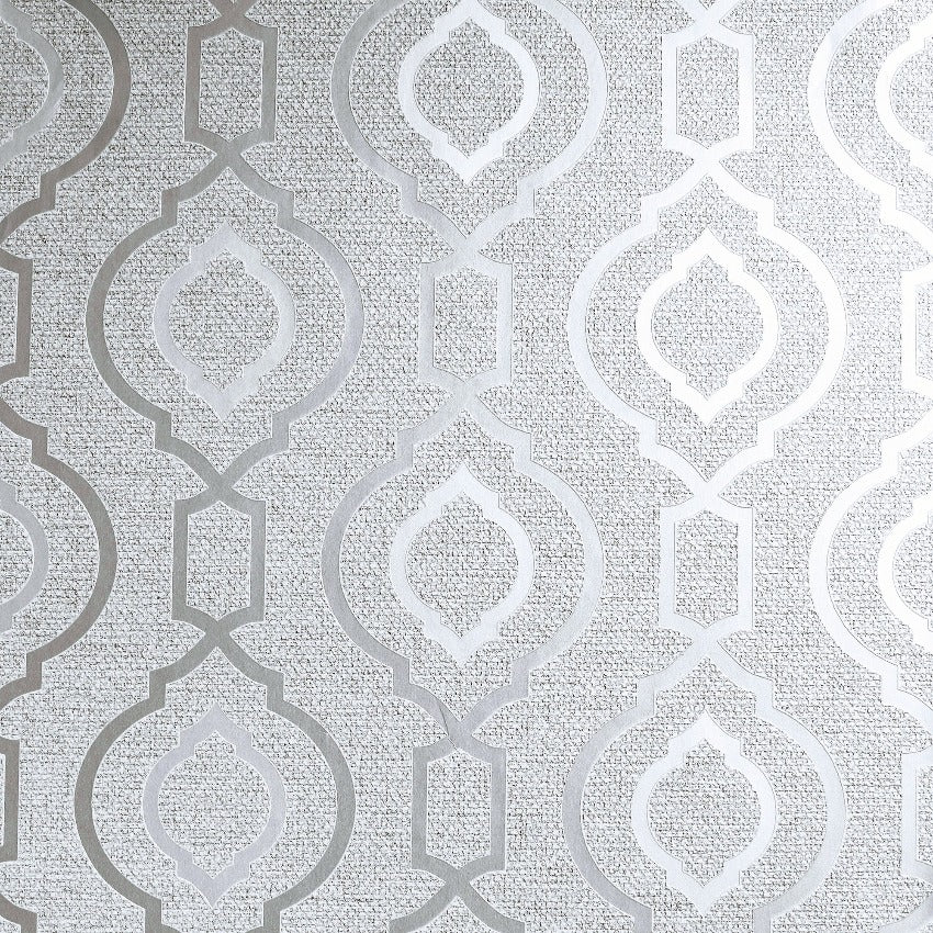 Arthouse calico silver grey trellis wallpaper