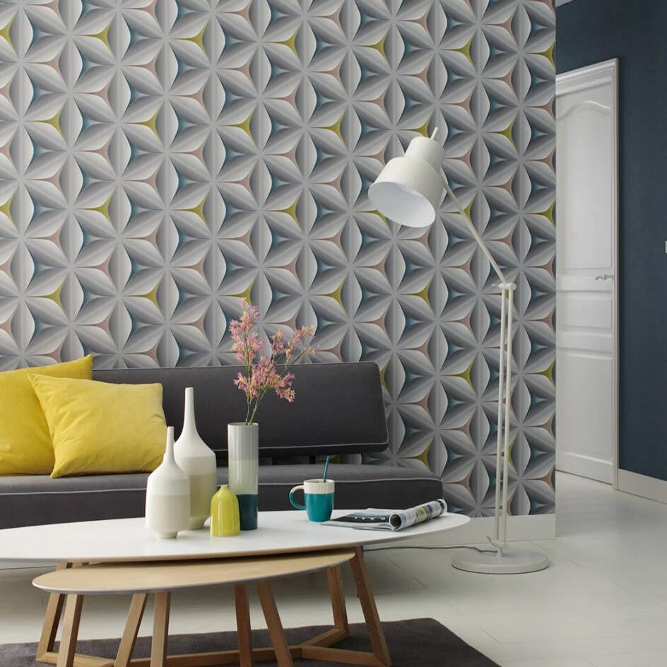 Grey and multi 3d flower wallpaper in living room