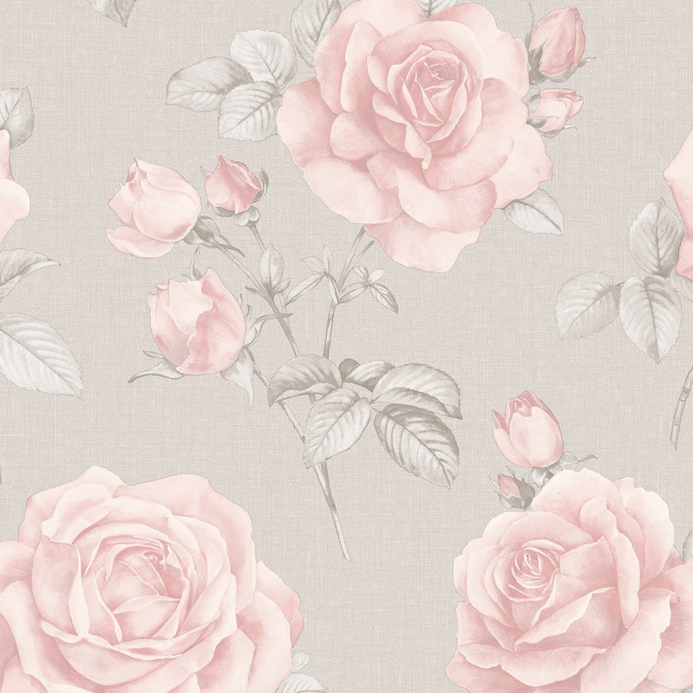 Rosa Floral Blush Pink Rose Flower On Grey Wallpaper By Belgravia 9766