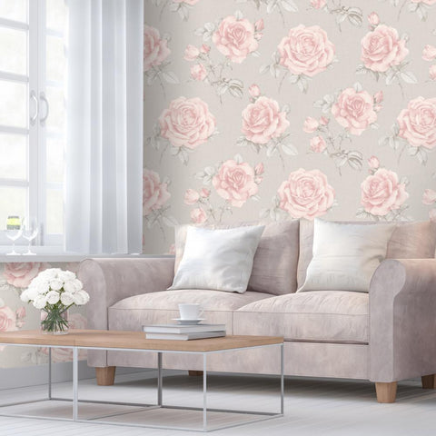 Pink rose flower on grey weave texture wallpaper in room