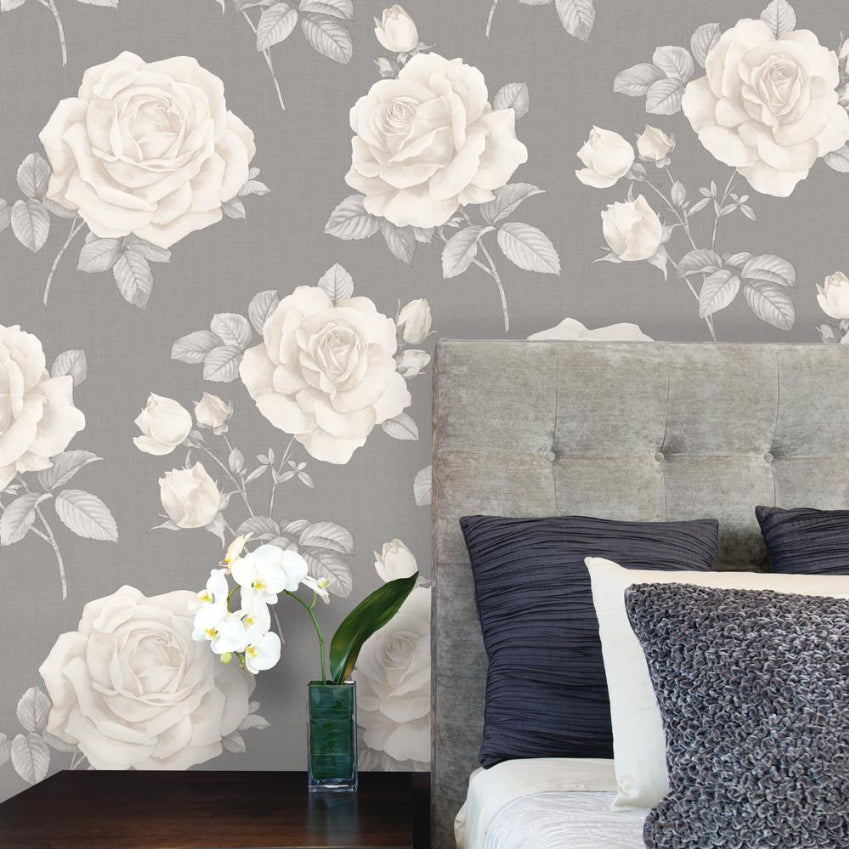 Charcoal grey rose floral wallpaper in room