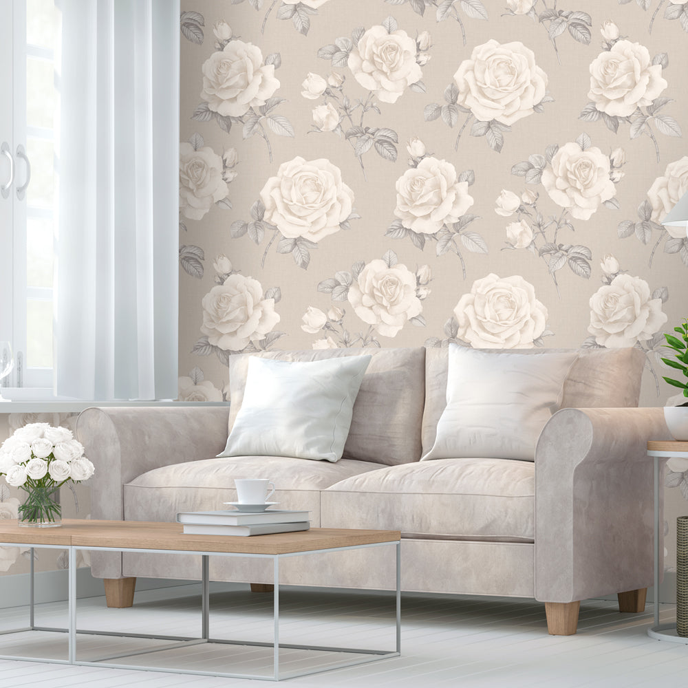 Beige and taupe rose floral wallpaper in room