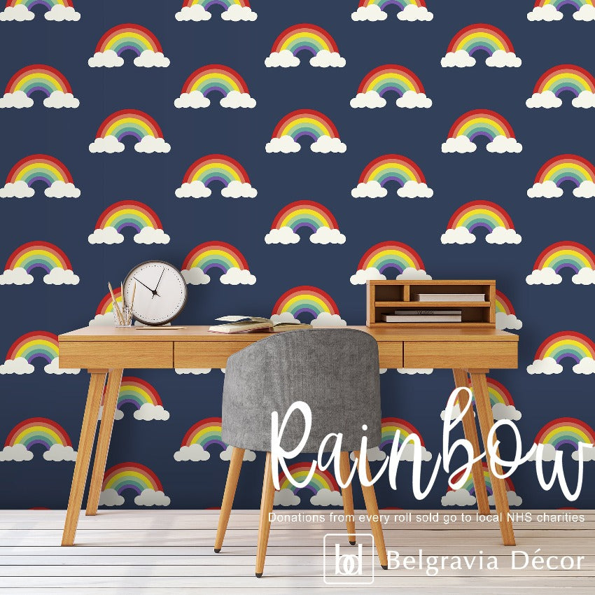 NHS Rainbow Navy Wallpaper