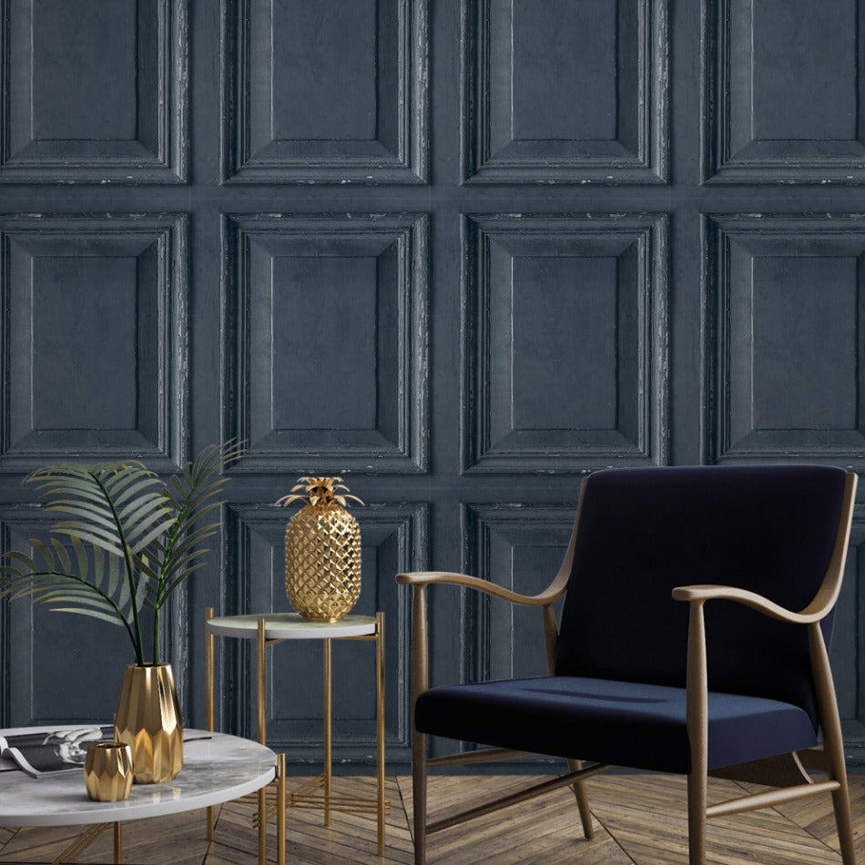 Grandeco Distressed Navy Blue 3D Wood Panel Wallpaper