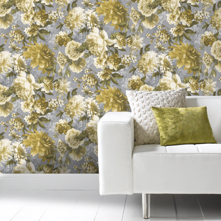 Grey and yellow floral print wallpaper in living room