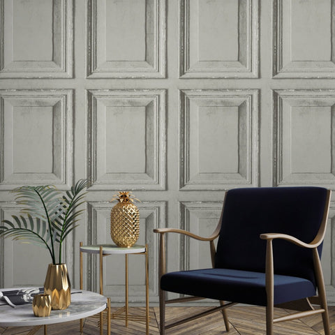 Grandeco Distressed Grey 3D Wood Panel Wallpaper