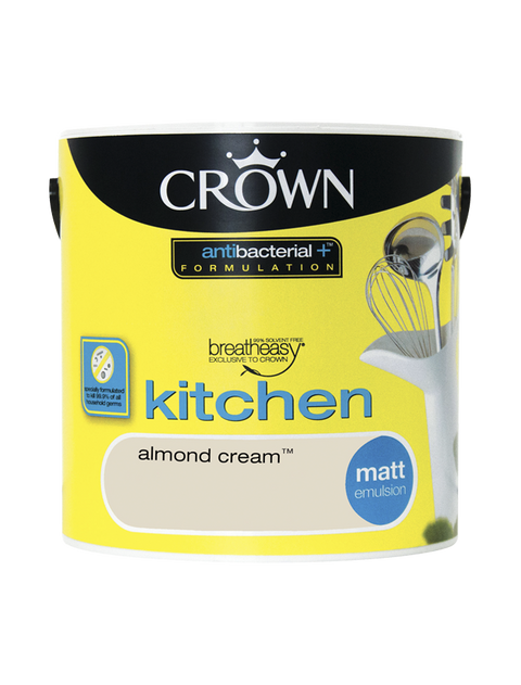 2.5L Crown Kitchen Matt Emulsion - Almond Cream