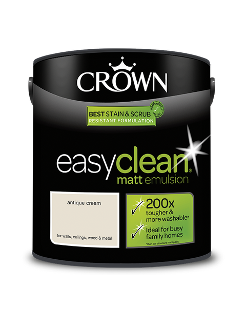 2.5L Crown Easyclean Matt Emulsion - Antique Cream