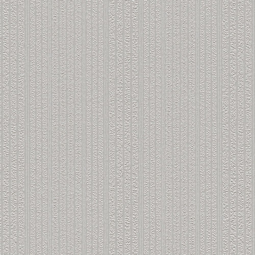 Paintable grey cord stripe blown vinyl wallpaper