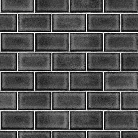 High gloss black subway tile wallpaper