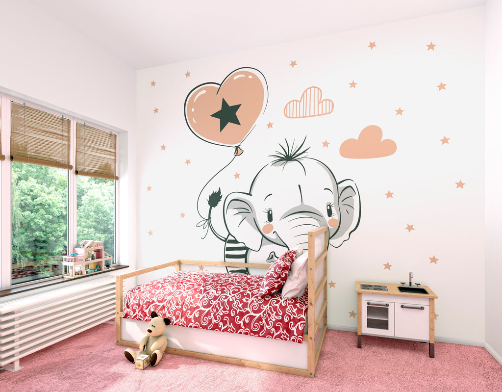 White / Rose Gold Baby Elephant Mural