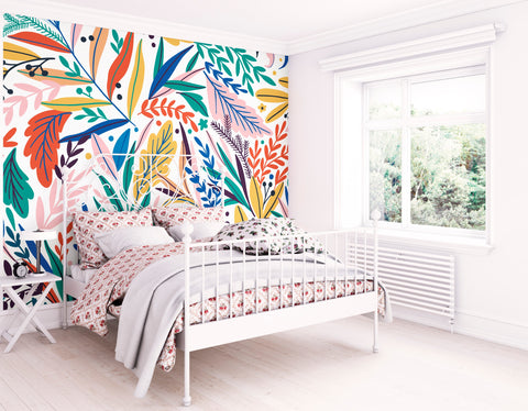 Tropical Patterned Leaves Mural