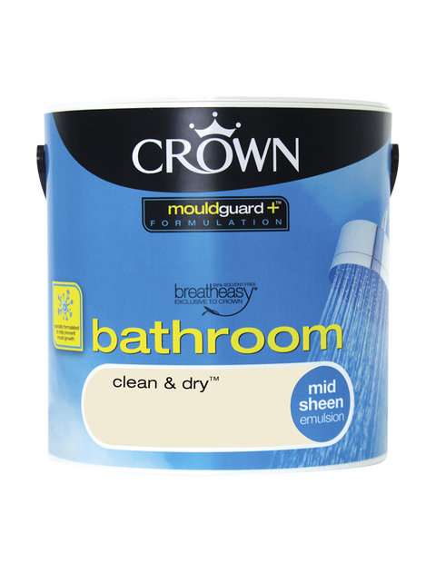 2.5L Crown Bathroom Mid Sheen Emulsion - Clean and Dry