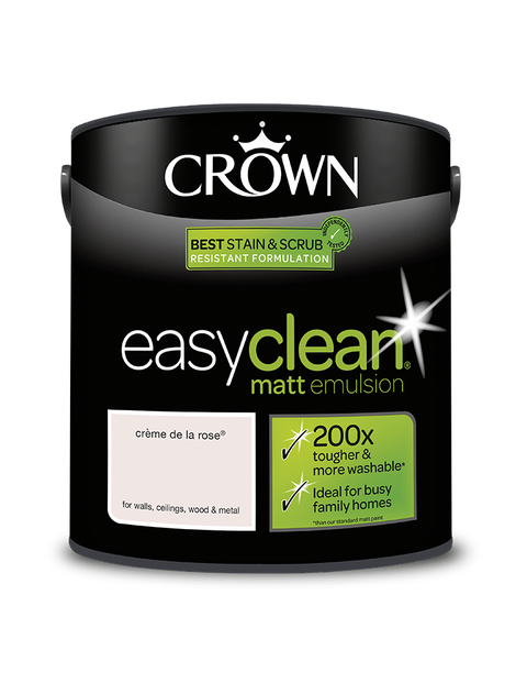 2.5L Crown Easyclean Matt Emulsion - Creme de la Rose