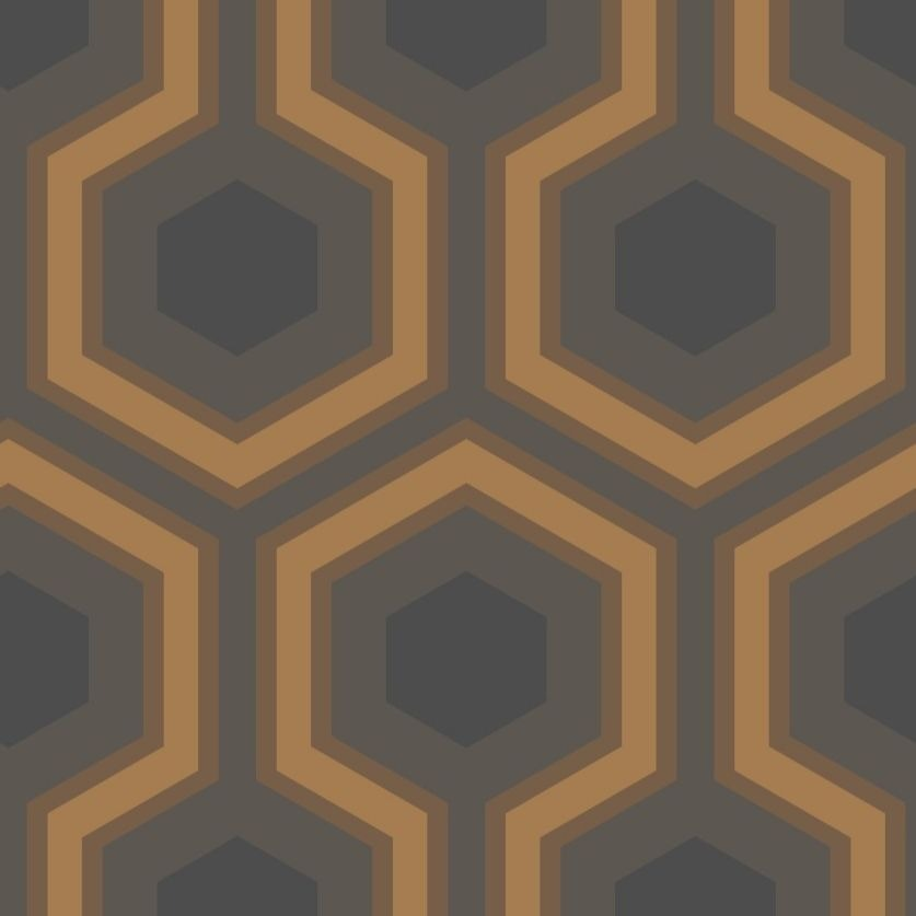 Gold and charcoal large hexagon