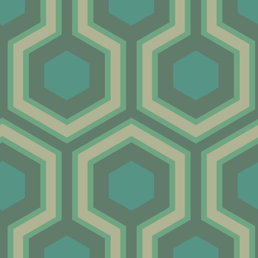 Gilver, teal and viridian large hexagons