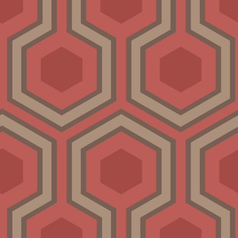 Red and bronze large hexagon