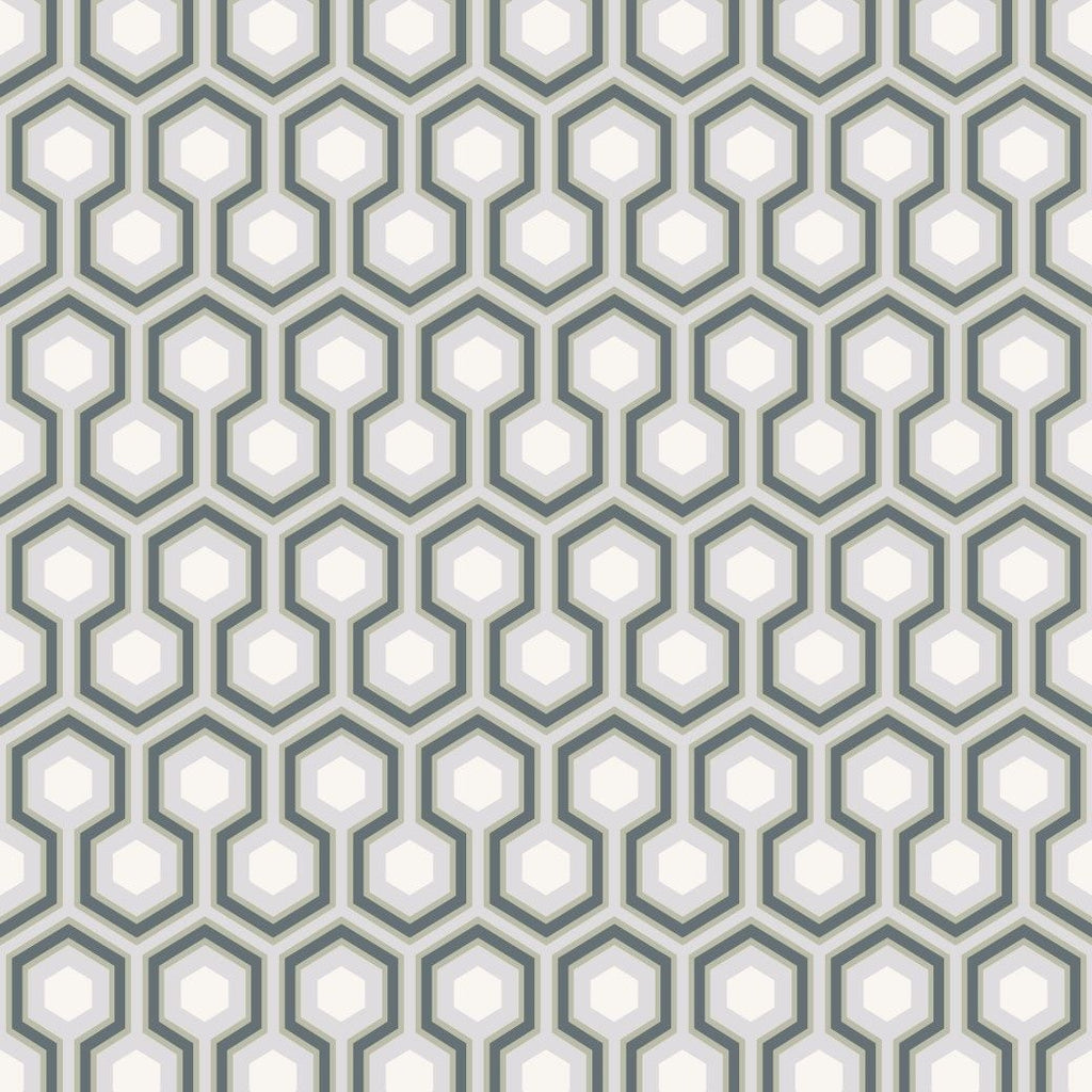 Ink, white and heath grey hexagon