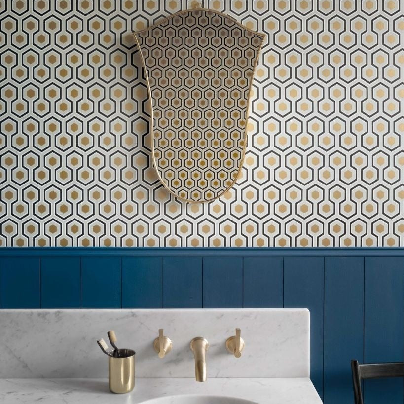 Contemporary Hicks Hexagon Black And Gold On Soft Olive Wallpaper