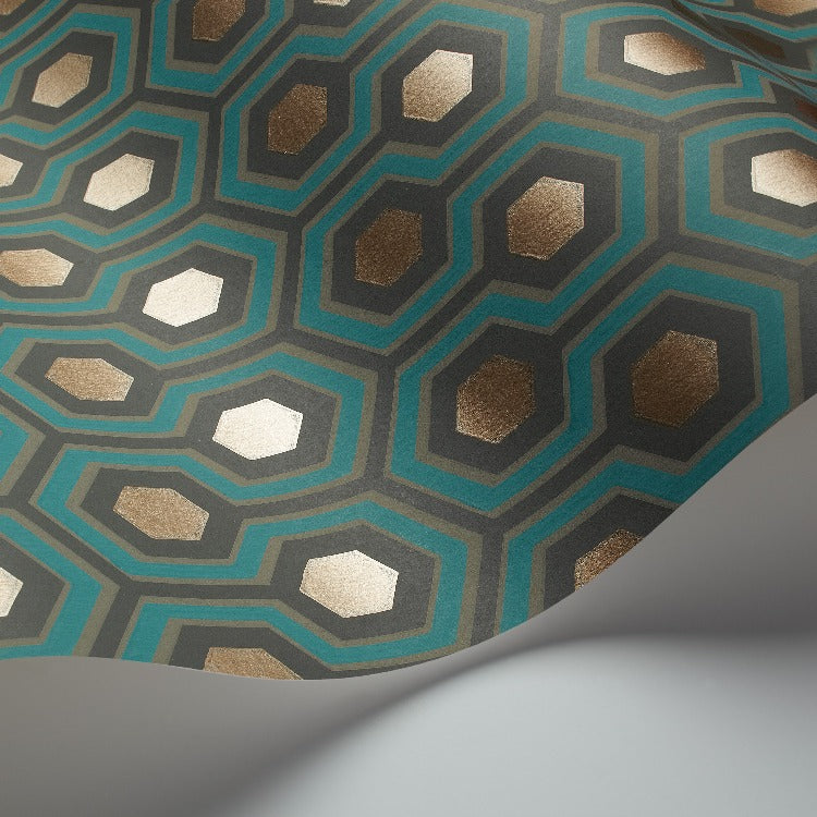 Close up of teal, bronze and soot hexagon