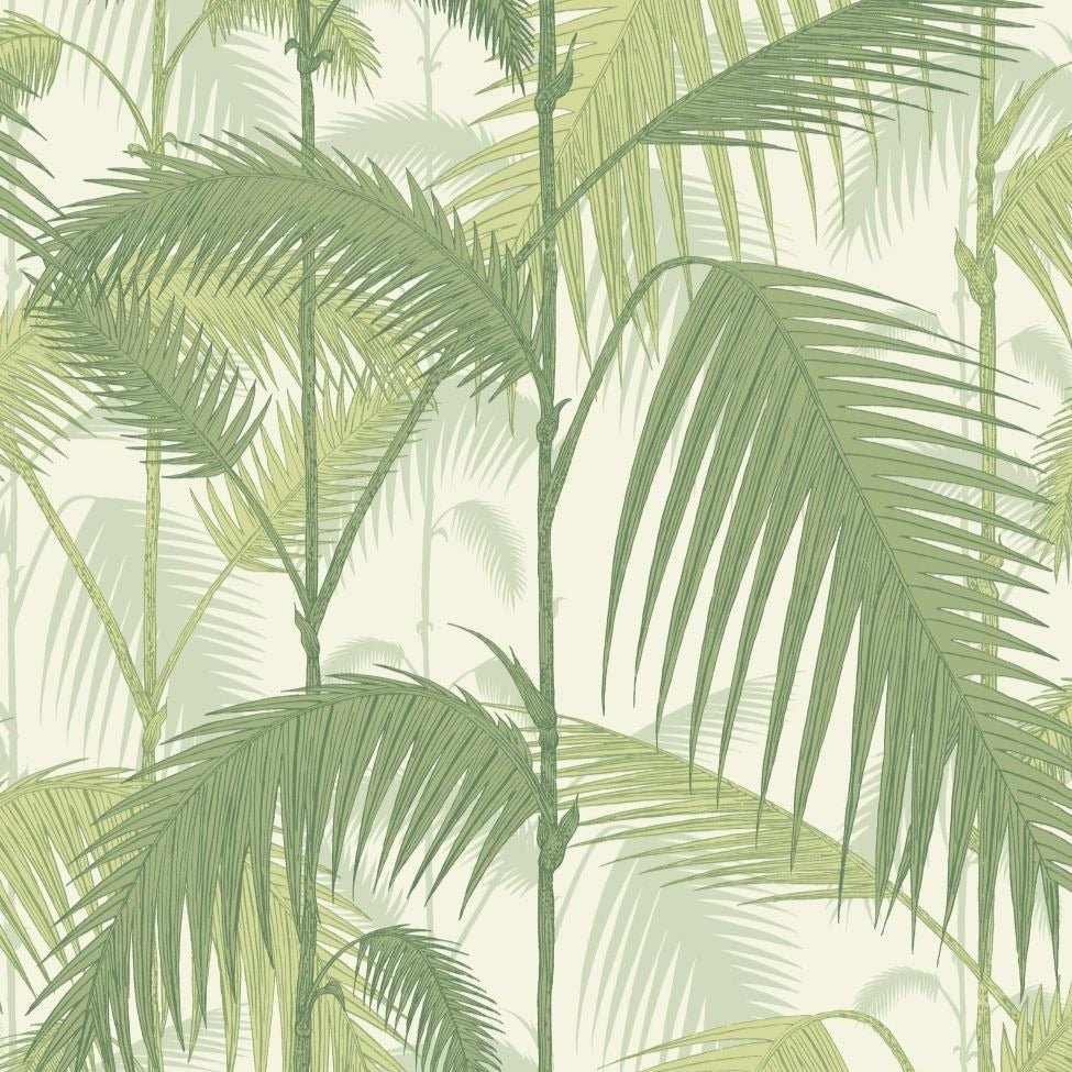 Olive green and white palm jungle leaf