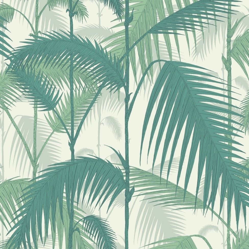Teal viridian and chalk palm jungle leaves