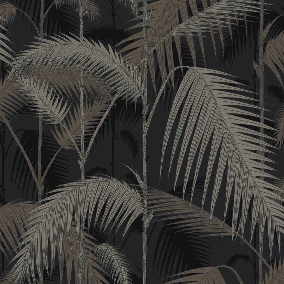 Gilver and charcoal palm jungle leaves
