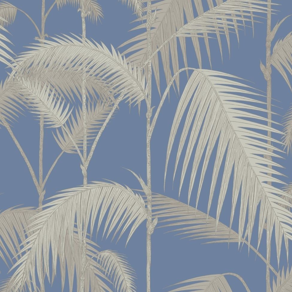 Silver and hyacinth blue palm jungle leaves