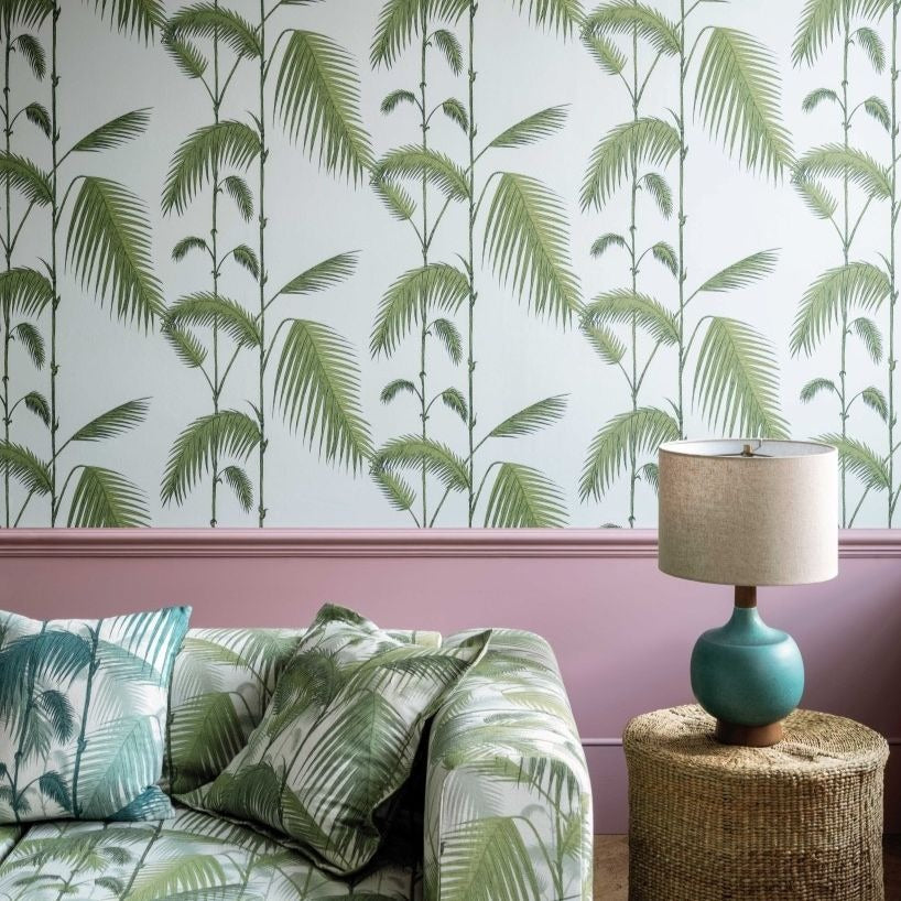 Contemporary Palm Leaves Leaf Green on Sea Foam Wallpaper